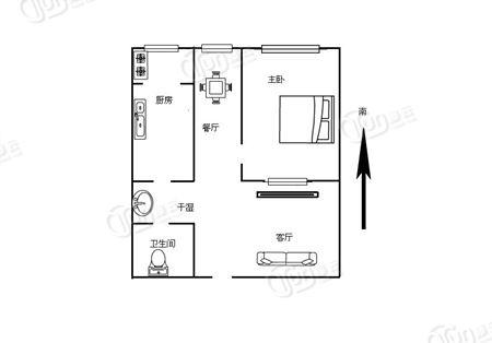 双街新家园 1室1厅1卫 全南户型 卧室带阳台
